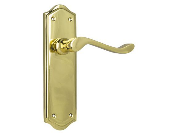 Henley lever on blank plate set - Polished Brass