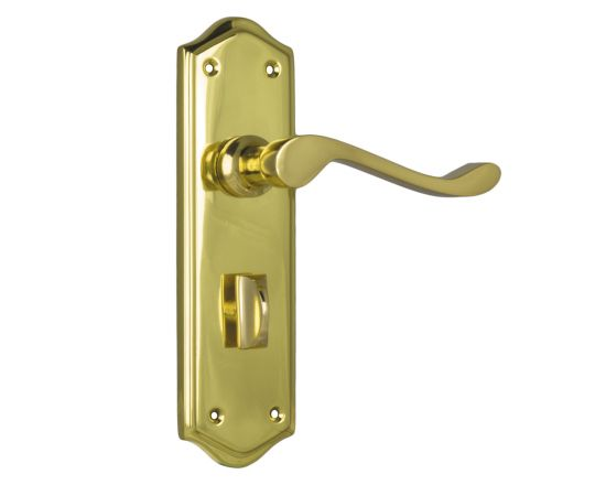 Henley lever on  privacy plate set - Polished Brass