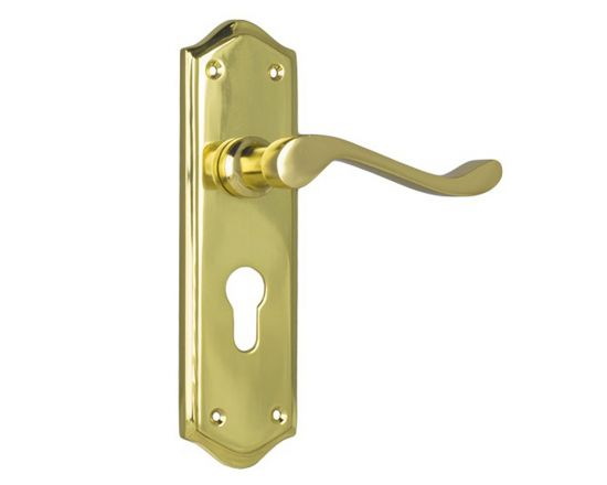 Henley lever on Euro 48 plate set - Polished Brass