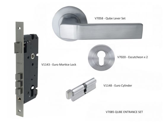 Qube lever on rose entrance  set