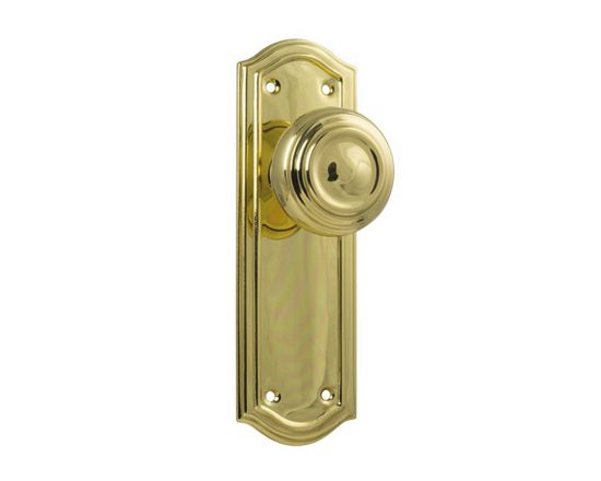 Kensington knob on blank plate set - Polished Brass