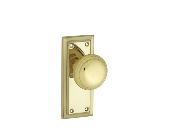 Richmond knob on short plate set - Polished Brass