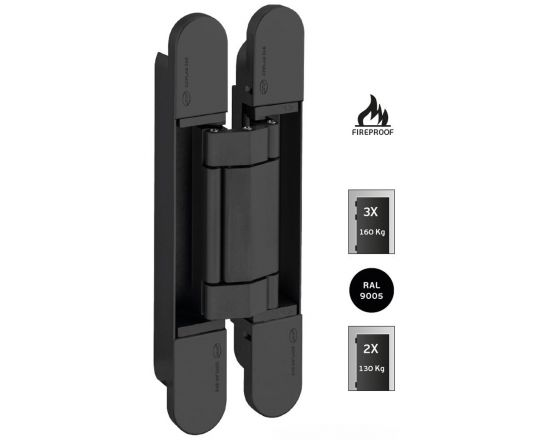 JNF 3D Adjustable concealed hinge - 160Kg Black