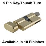 60mm Key Thumb-turn Euro Cylinders - 5 Pin
